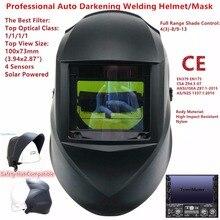Kaynak maskesi üst boyutu 100x73mm üst optik sınıf 1111 4 sensörler gölge 3-13 sert şapka inşaat otomatik kararan kaynak kask