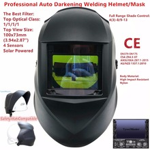 Welding Mask Top Size 100x73mm(3.94×2.87″) Top Optical Class 1111 4 Sensors Shade Range 4(3)-13 Auto Darkening Welding Helmet CE