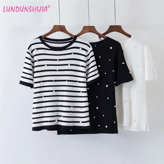 af00f85925d0f LUNDUNSHIJIA 2018 Summer Pearls Beaded T-Shirt Women Slim Knitting Tops  Women Short Sleeve O-Neck Tee Shirt High Quality