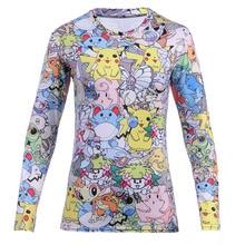 2016 New Arrival Fashion Women Totally Tshirt Print Pokemon Pikachu T-Shirt Casual Funny Graphic Hiphop 3D Print T Shirt Tees