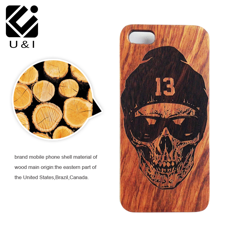 d775e0e4bc New Skull Custom U&I Real Wood Slice Cell Phone Case Wooden Laser Engrave  Cover Capa for