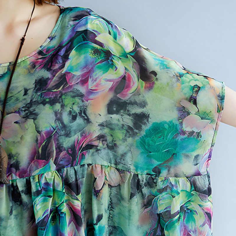 Летнее шифоновое платье большого размера, женское пляжное платье с рукавом летучая мышь с цветочным принтом размера плюс, свободные миди платья 4XL 5XL 6XL 7XL 2019