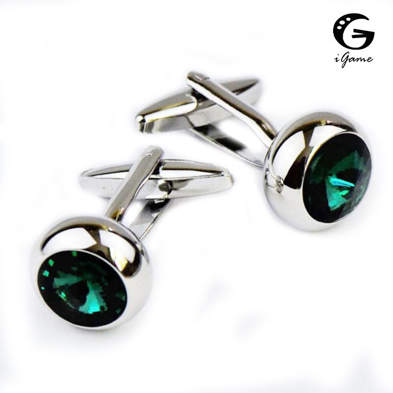IGame Men's Designer Cuff Links Silver Color Brass Material Green Stone Design Shirt Cufflinks Free Shipping