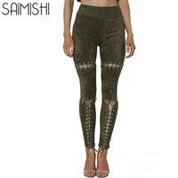 Saimishi Kobiet spodnie 2017 Sexy Wysoka Talia Hollow Out Kobiety Solid Color Spodnie Letnie Spodnie Skinny Ołówek Legginsy dla Kobiet
