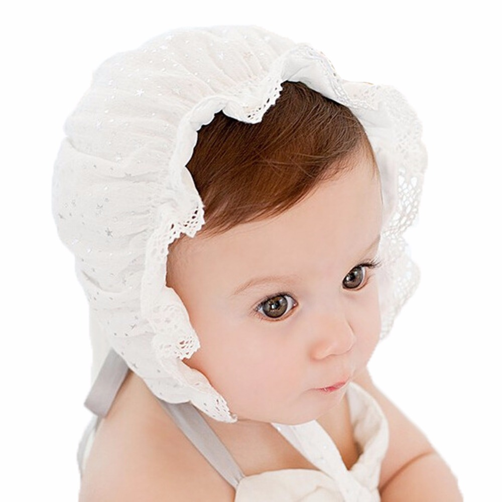 On sale Baby Girls White Eyelet Lace Bonnet Lace up newborn cap hat kids accessories