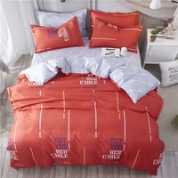 Summer Style Bedding Sets A+B side Warm Color Orange Letter Flat Sheet Duvet Cover Pillowcase,King Queen Twin Full