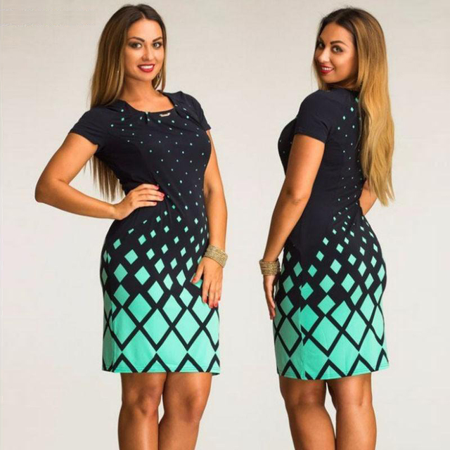 c49da3694a770 US $11.21 34% OFF Sakazy Women Big Plus Size 6XL Elegant Summer Dress  Casual Bodycon Evening Party Dress With Short Sleeves Vestido De Festa-in  ...