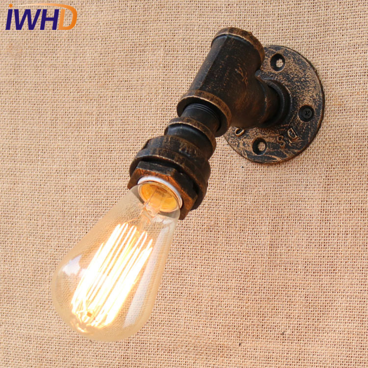IWHD Loft Style Industrial Vintage Wall Lamp Antique Edison Wall Sconce Bulb E27 Water Pipe Wall Light Fixtures Home Lighting