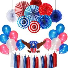 11pcs Red White Blue Paper Fans Decor for 4th of July Independence Day Memorial Day Patriotic Decorations American Party цена 2017