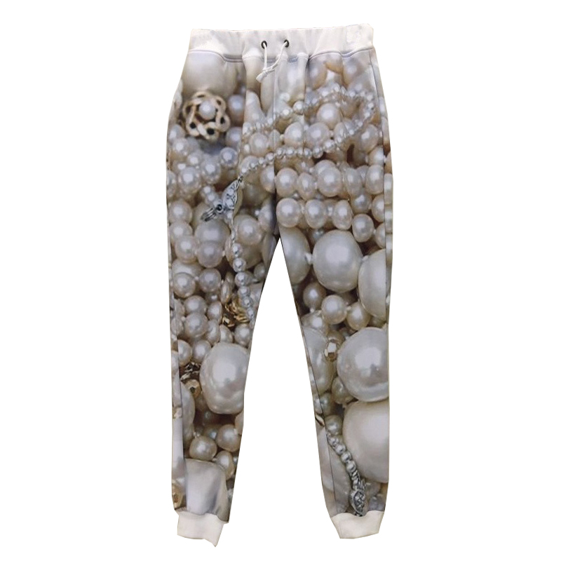 New Sweat Skinny Joggers Pants 3d Pearl Jewelry Galaxy Printed Skinny Sweatpants Men/women/boy/girl Long Trousers