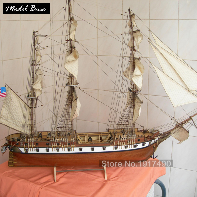 Wooden Ship Models Kits Educational Toy DIY Model-Ship-Assembly 3d Laser Cut Wood Scale Model 1/85 US CONSTELLATION 1843 wooden ship model kit kids educational games boat wood models 3d laser cut adult assemble model ships scale 1 87 corsair unicorn