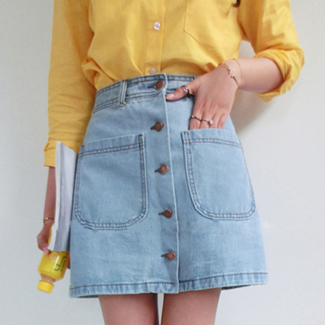 Double Pocket Button High Waist Women Denim Skirt 2019 New Fashion Package Hip Casual Cintage A-line Summer Skirt 2