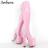 Sorbern Pink Shiny Pu Over The Knee High Boots For Women 20Cm/8 Super High Heeled 9Cm Platforms Shoes Women Custom Colors