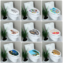 32*39cm Sticker WC Voetstuk Pan Cover Sticker Wc Kruk Commode Sticker home decor Bathroon decor 3D gedrukt bloem view(China)