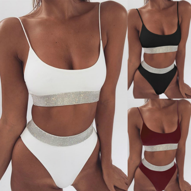 IFLYING New Sexy string Bikini Swimwear 2019 Brazilian Bikini Set High Waisted Bathing Suits Beach Wear Biquini Women Swimsuit in Bikinis Set from Sports Entertainment