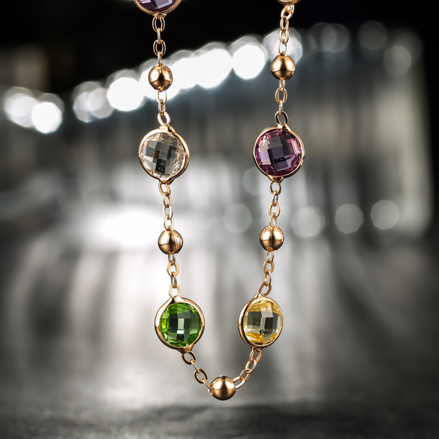 Neoglory Crystal Long Charm Necklace