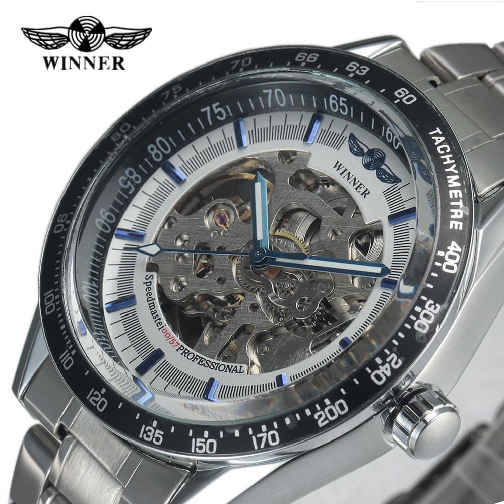 WINNER Luxury Brand Sports Business Men Wrist Watches Automatic Mechanical Watch Military Stainless Steel Skeleton Watches Reloj hot 2016 winner luxury brand sports men s automatic skeleton mechanical military wrist watch men full steel stainless band reloj