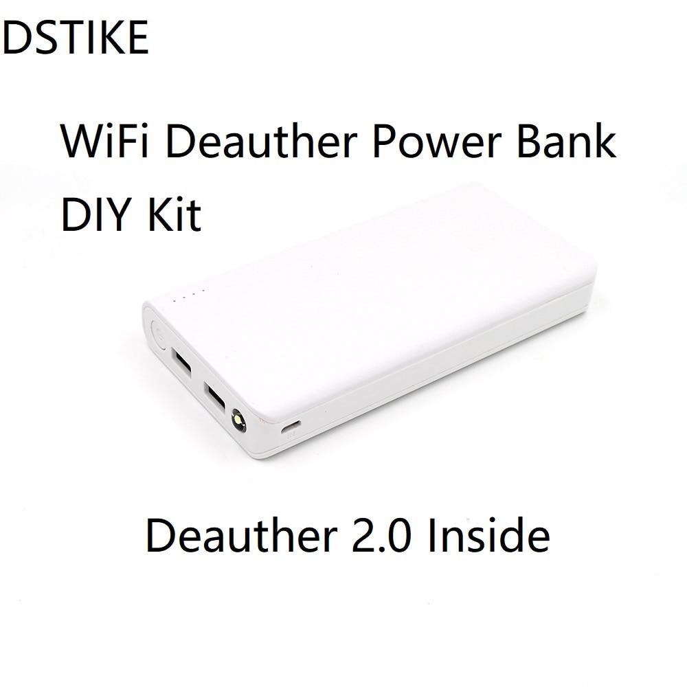 DSTIKE Blanc WiFi Deauther 20000 mAh 18650 Puissance Banque DIY Kit ESP8266 ESP-07 + 8dBi antenne