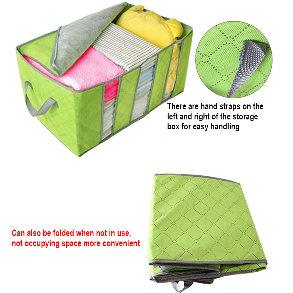 Foldable Storage Bag Bamboo Charcoal Organizers Great for Clothes Blankets Closets Bedrooms LXY9