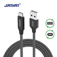 JianHan Reversible USB Type C Cable USB-C to USB 2.0 A Male Data Charging Cables for Huawei P10 LG G5 G6 Xiaomi 4c 5 One Plus 3T