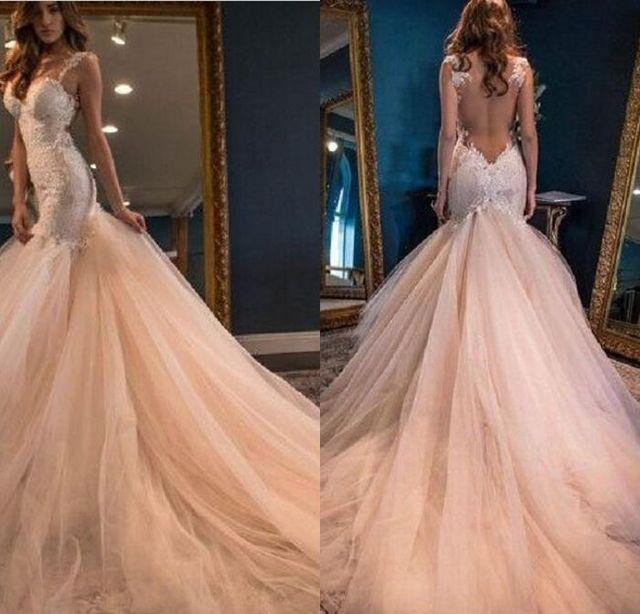 cccc53e89 ... encaje pura espalda vestido de novia. Gorgeous Charming Mermaid  Champagne Wedding Dresses Chapel Train Tulle Lace Sheer Back Vestido De  Noiva