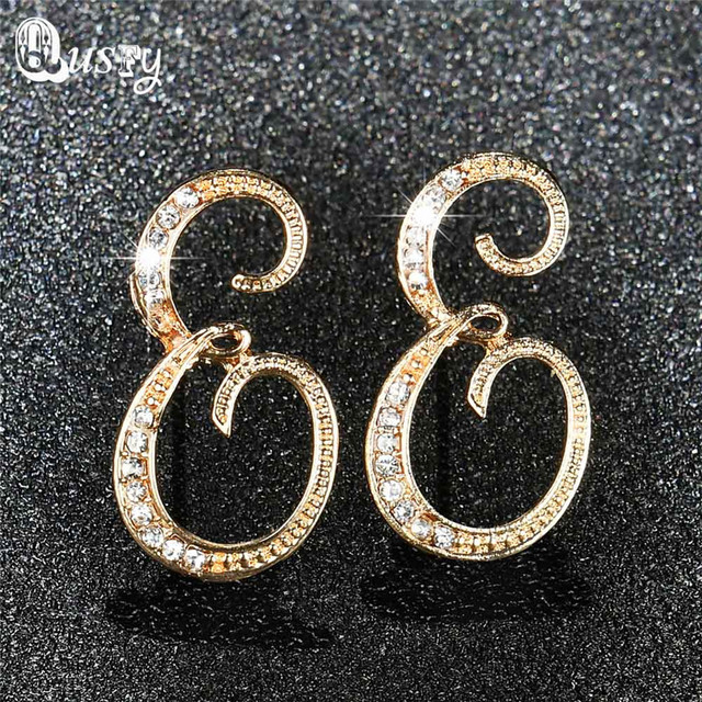 Qusfy New Fashion Charm Women S Stud Earrings Jewelry Clic 6 Color Rhinestone Letter E Crystal