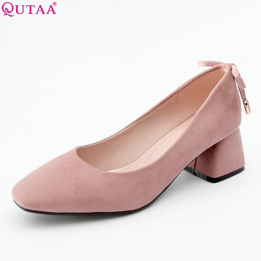 QUTAA 2018 Women Pumps Flock Fashion Women Shoes Pink Platform Bow Tie All Match Square High Heel Ladies Pumps Size 34 43-in Women's Pumps from Shoes    1