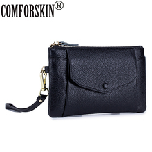 COMFORSKIN Brand Luxurious Genuine Leather Large Capacity Wallet With Mobile Pouch New Arrivals Women Coin Purse Zipper Pockets