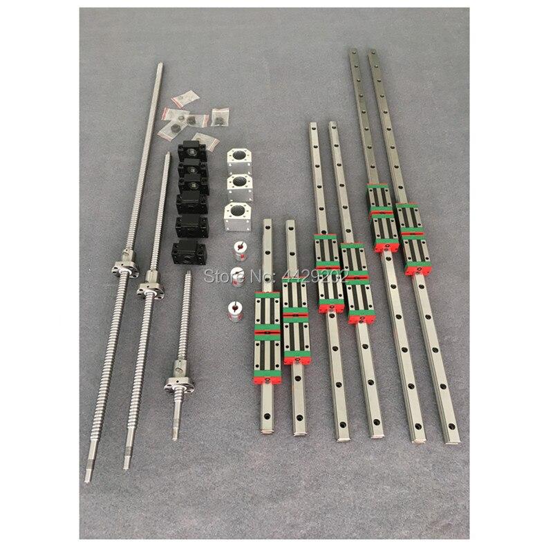 6 ensembles HGR20-500/1500/2500mm rail de guidage linéaire + vis à billes SFU1605 + SFU2005 + BK/BF12 + BK/BF15 + couplage + écrou boîtier pour pièces de CNC