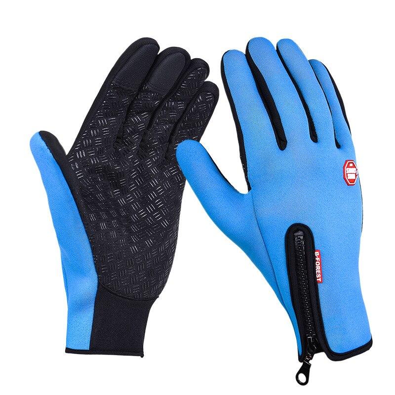 Унисекс тачскрин зима Тепловая Теплая велосипедная Лыжная уличная походная мотоциклетная перчатки спортивный с полными пальцами - Цвет: Sky Blue