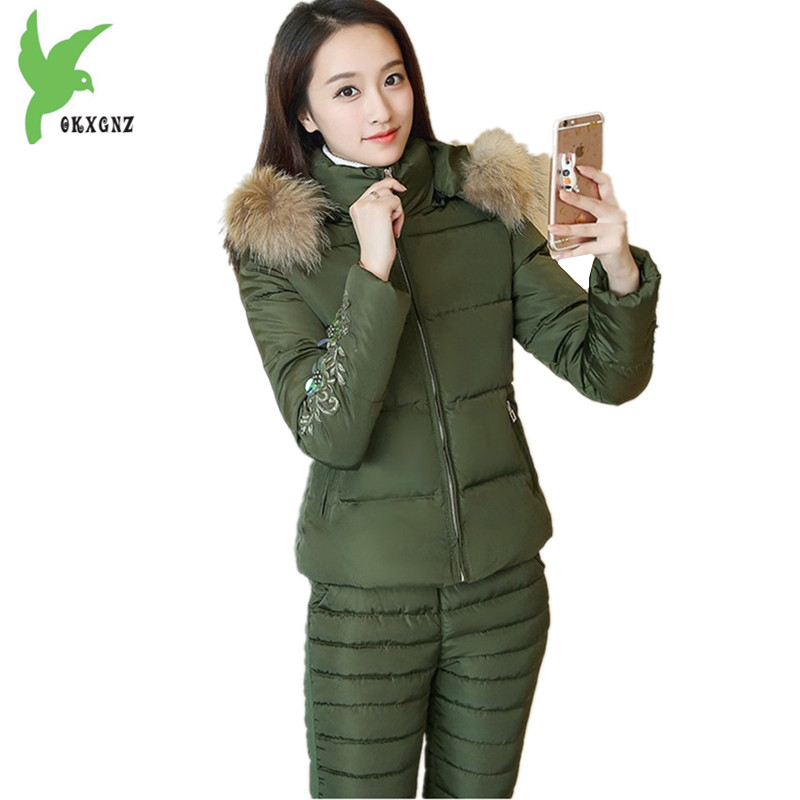 8468c918c3ee9 New-Women-Winter-Down-Cotton-Two-Pieces-Set-Fashion-Hooded-Fur-Collar-Short- Jacket-252B-Elastic.jpg