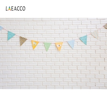 Laeacco White Brick Wall Colorful Flags Baby Portrait Photography Backgrounds Customized Photographic Backdrops For Photo Studio