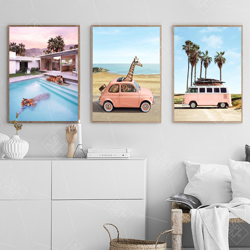 Pink Car Landscape Art Canvas Painting Travel Bus Nordic Posters And Prints Modular Wall Pictures For Living Room Home Decor