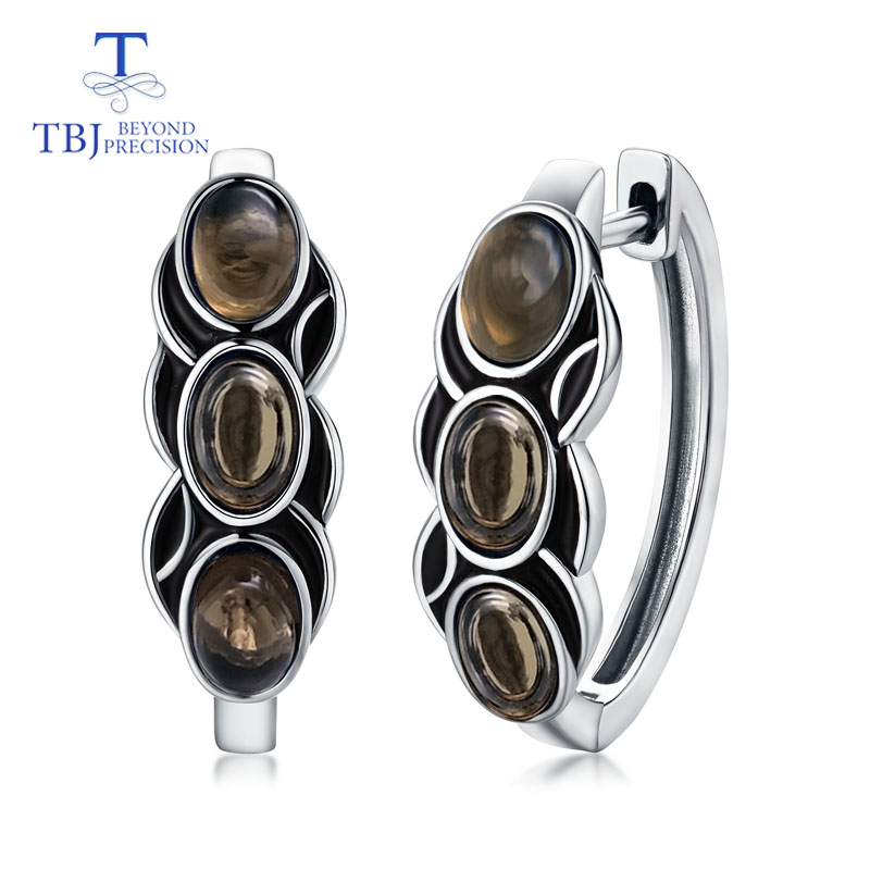 TBJ,vintage style good clasp earring with natural smoky quartz gemstone in 925 sterling silver design for women daily wear giftTBJ,vintage style good clasp earring with natural smoky quartz gemstone in 925 sterling silver design for women daily wear gift