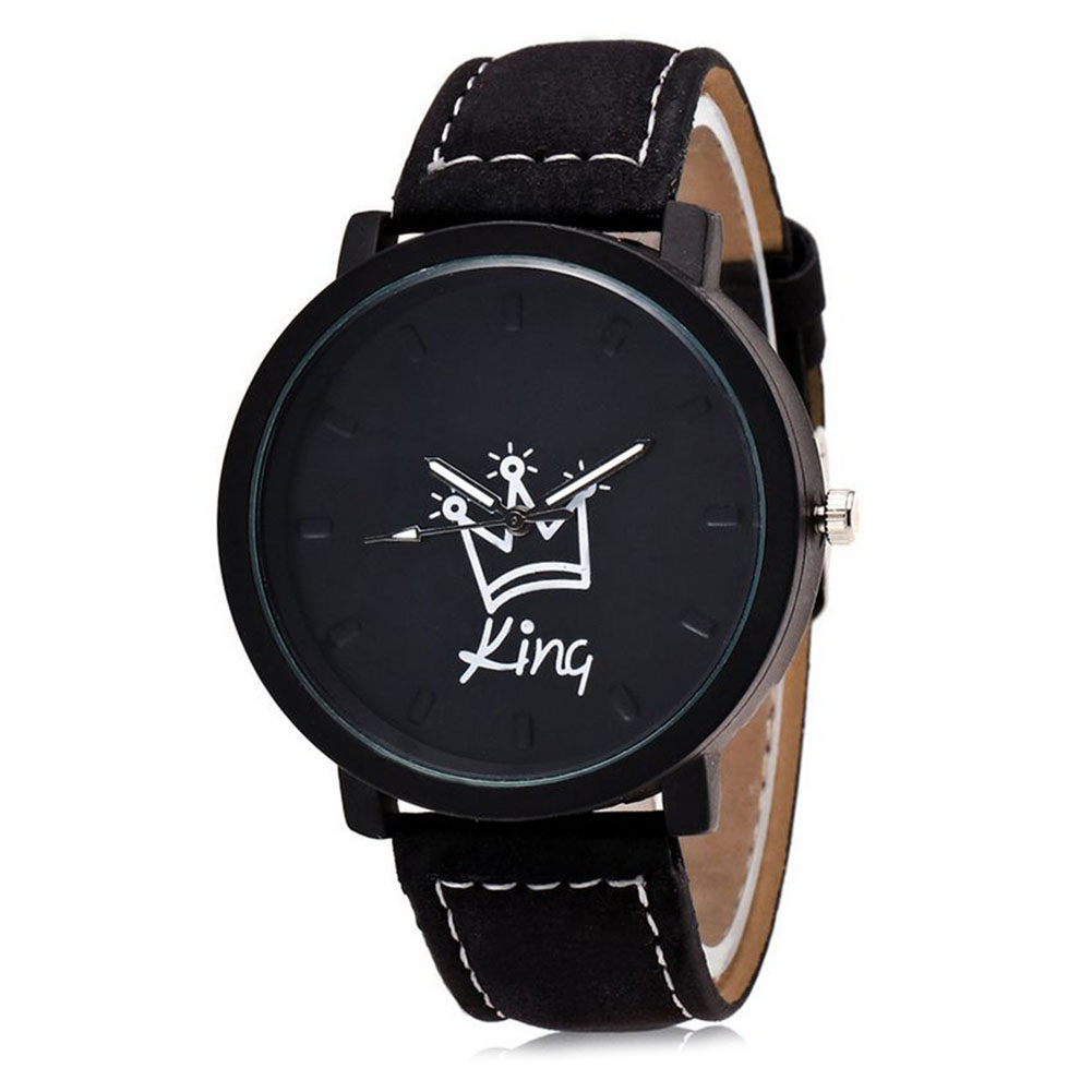 Newly King Queen Leather Watches Women Lovers Quartz Watch Men Brand Luxury Wristwatch Female Male Quartz Lover`s Watches DO99