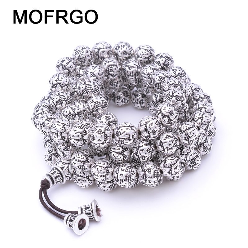 MOFRGO Charm Silver plate Multi Layers 108 Beads Bracelet For Men And Women Buddhist Meditation Six Words Mantras Lotus Bracelet
