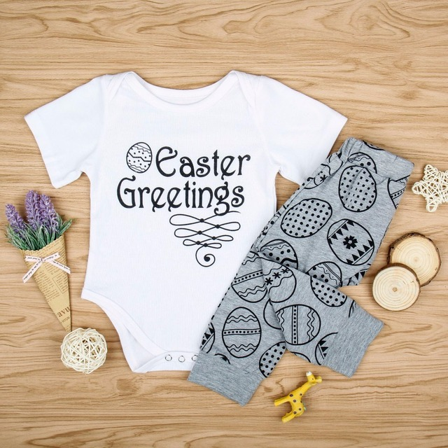 2018 baby boy girl 2pcs clothes sets easter greeting letter short 2018 baby boy girl 2pcs clothes sets easter greeting letter short sleeve romper funny m4hsunfo