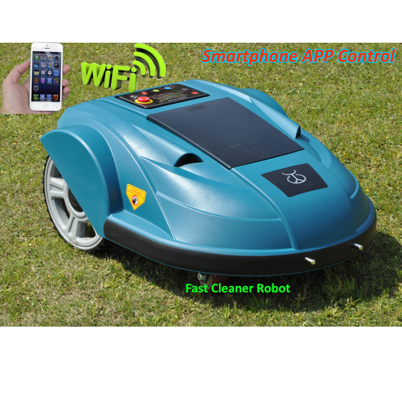 Newest WIFI APP Smartphone Wireless Remote Control Lawn Mower Robot with Water-proofed Charger,Range,subarea,Compass functions newest wifi app smartphone wireless remote control lawn mower robot with water proofed charger range subarea compass functions