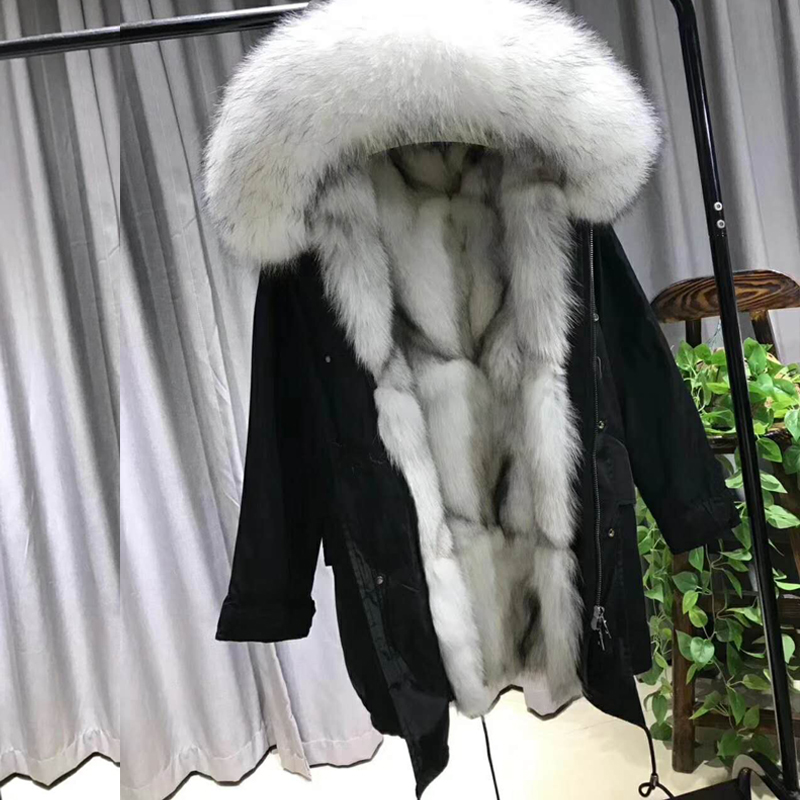JUPPLARDY Real Fur Coat Parkas Winter Jacket Coat Women Parka Big Real Natural Fox Fur Liner Long Outerwear WT029