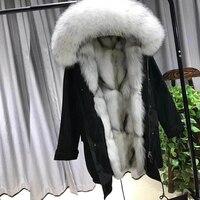 JUPPLARDY Real Fur Coat Parkas Winter Jacket Coat Women Parka Big Real Natural Fox Fur Liner Long Outerwear WT029