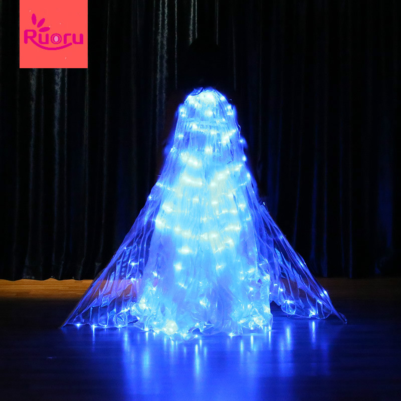 Ruoru Wings-Props Belly-Dance Star-Series Blue-Color Led Isis Open 360-Degree Flickering