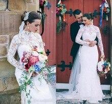 Boho Long Sleeve Mermaid Wedding Dress 2019 Vestido De Novia Sirena Sheer Lace Gowns Handmade Bridal Dresses