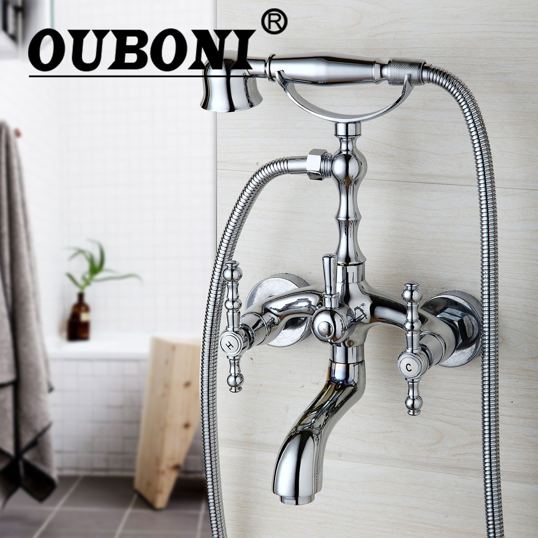 OUBONI Shower Set Chrome Telephone Install Bathroom Sink Faucet Bathtub Basin Mixer Tap With Shower Hand free shipping polished chrome finish new wall mounted waterfall bathroom bathtub handheld shower tap mixer faucet yt 5333