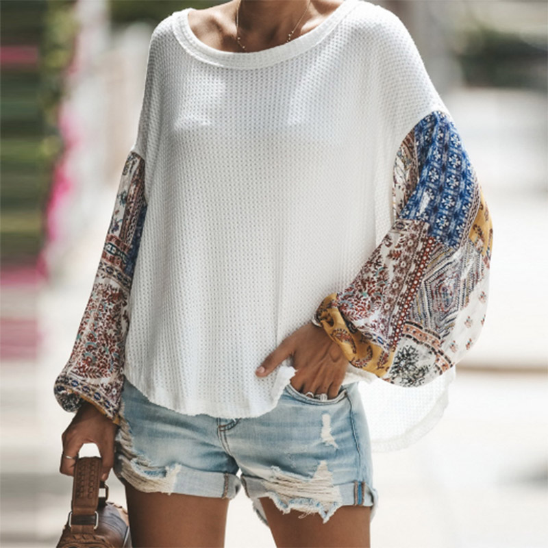 Round Neck Long Sleeve Printed Chiffon Patchwork Sweater Autumn Women Casual Women's Top Loose Ethnic Knitted Sweater