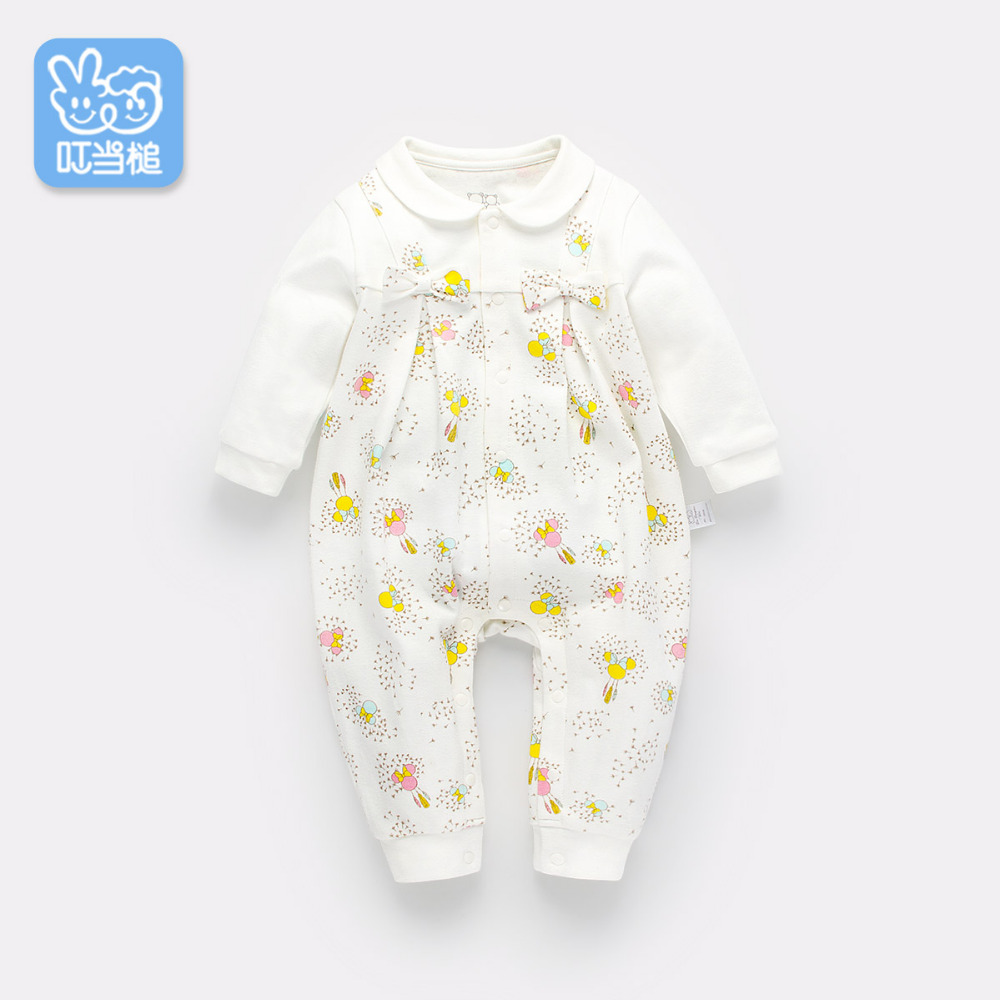 Dinstry 2018 Newborn baby girl spring and autumn Cotton printing Romper dinstry newborn baby girl cotton romper jumpsuit long sleeved spring and autumn pink infant clothing clothes