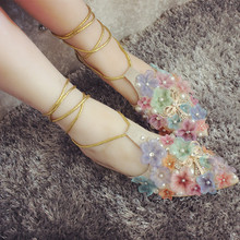 Deification Ankle Strap Platform Shoes Flowers Embellish Flats Women Sheepskin Fashion 2018 For Party