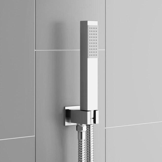 Square Handheld Shower Head & Brass holder and 1.5m Hose Set 03 193 ...