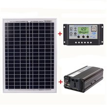 18V20W Solar Panel +12V / 24V Controller + 1500W Inverter Ac220V Kit, Suitable For Outdoor And Home Energy-Saving