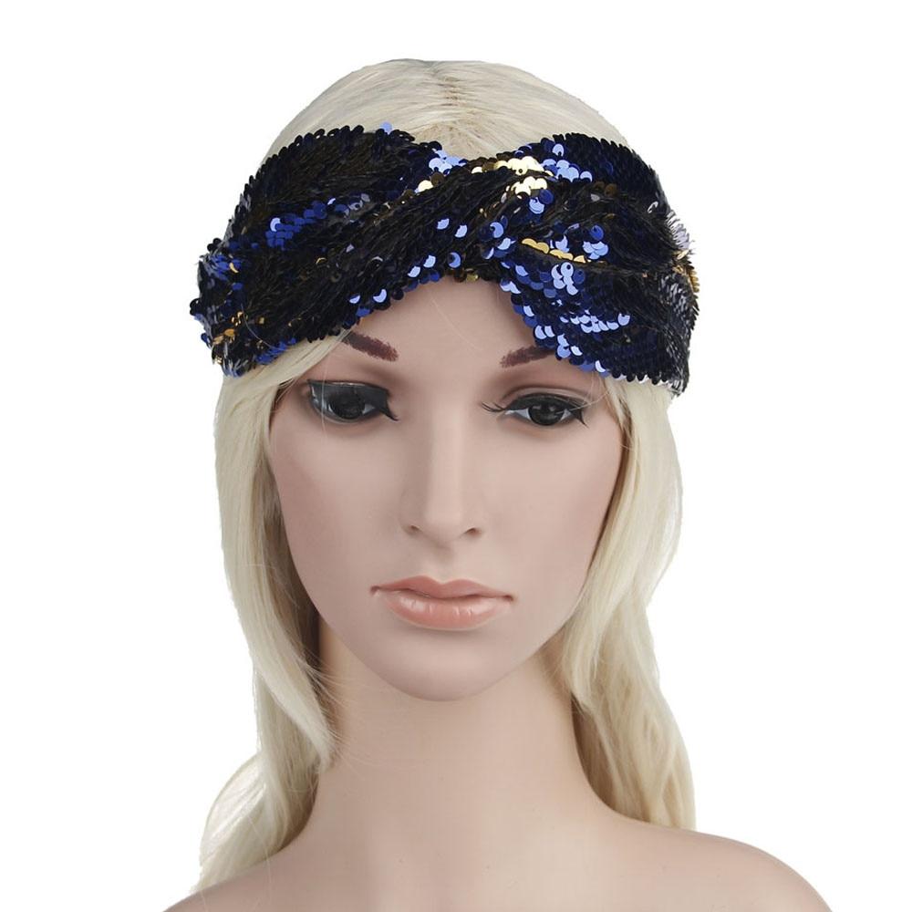 ✔  Женщины Двойной Цвет Блестки Йога Повязки Эластичный Run Head Wrap Широкие ленты для волос девушки b ★