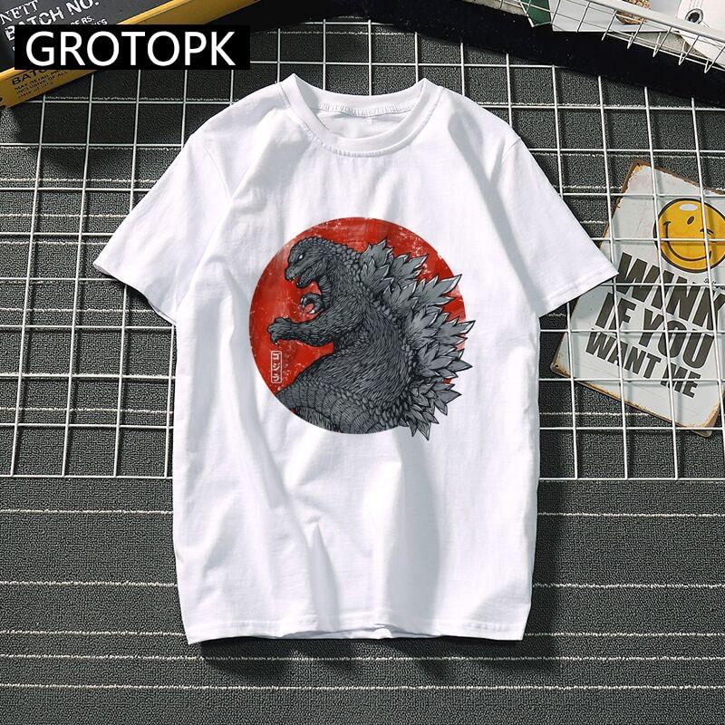 Godzilla Movie   T     Shirt   Short Sleeve Cotton Harajuku   T  -  shirt   Summer 2019 Funny   T     Shirts   King of The Monsters Tee   Shirt   Homme